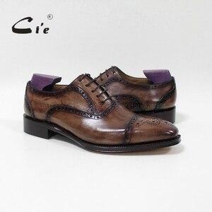 Image 1 - cie Bespoke Handmade Semi brogue Medallion Square Toe 100%Genuine Calf Leather Mens Dress Oxford Goodyear Welted Men Shoe OX 09