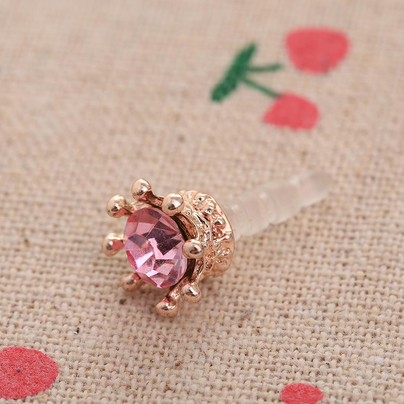 HTB1rVz4QSzqK1RjSZPcq6zTepXaZ Mobile Phone Dust Plug Rhinestones Crown Anti dust Plug Diamond Pendant Sweet Cell Phone Accessories Charge Port Plug For iphone