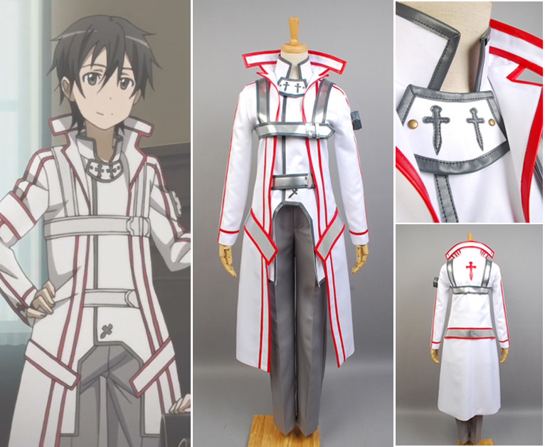 Anime Sword Art Online Knights of the Blood Kazuto Kirigaya Cosplay Costume Full Set Uniform Fancy Party Outfit Halloween