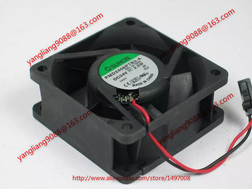 Free Shipping For SUNON PMD2406PTB3-A (2).U.GN DC 24V 2.5W 2-wire 2-pin connector 60mm 60x60x25mm Server Cooling Square fan термометры omron gentle temp 510