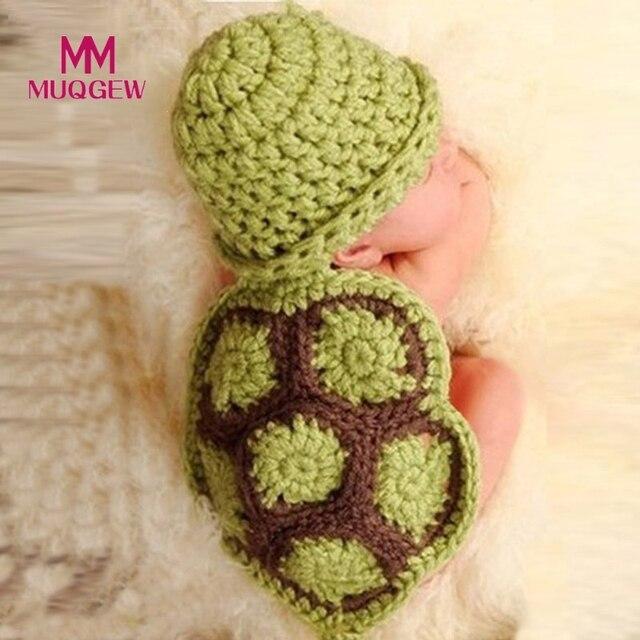 Bébé Fille Garçons Hiver Chaud de Bande Dessinée Tortue Tricot Crochet  Vêtements Bonnets Enfant En Bas 666df673bdf