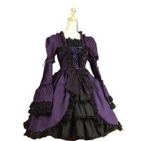 Распродажа! Фиолетовый хлопок Классический Длинные рукава Готическая Лолита платье v 919
