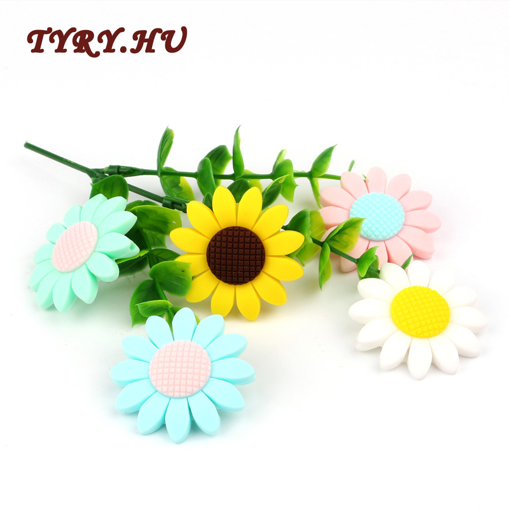 TYRY.HU 5PC Sunflower Silicone Beads Food Grade BPA Free For DIY Baby Teething Necklace Pacifier Chain Pendant Accessories Gifts