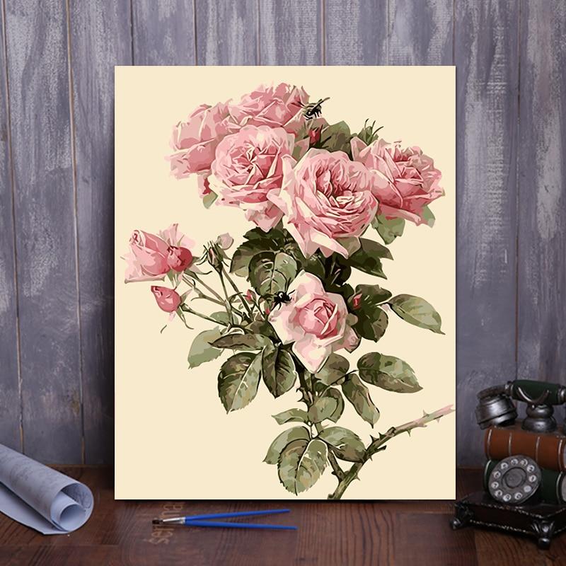 ⑦DIY digital pintura al óleo por números flores decoración para ...
