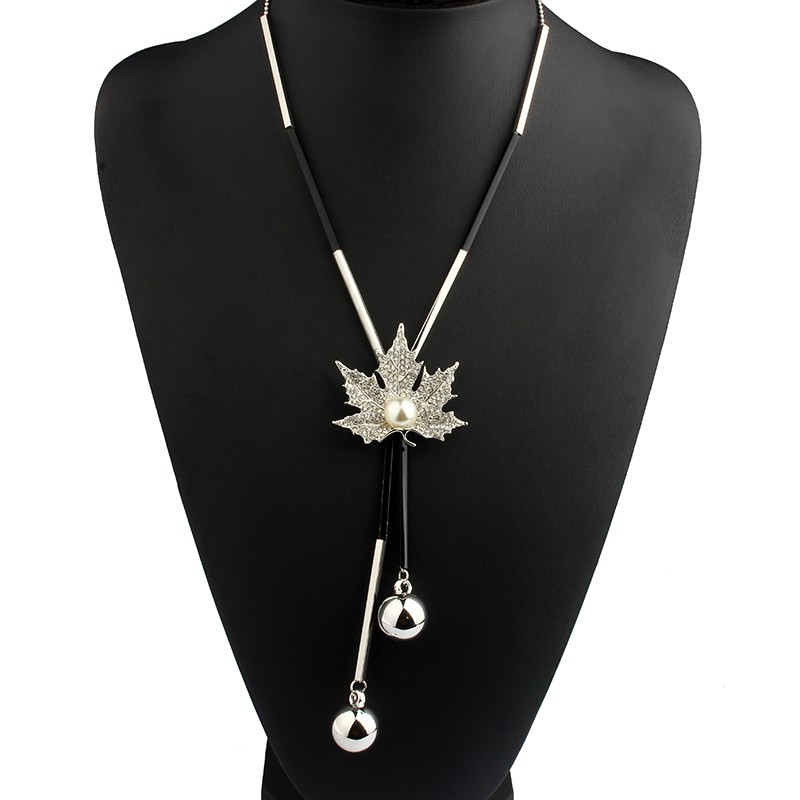 long-black-and-gold-or-silver-necklace-with-maple-leaf-pendant-2