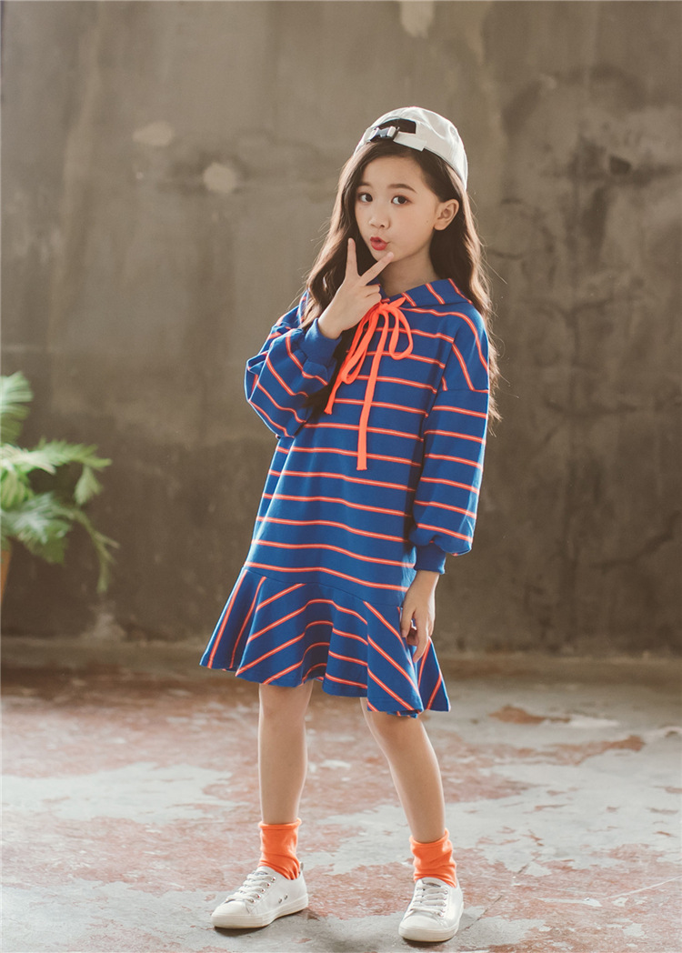 281f284a3623 Autumn Girl Dress Hooded Long Sleeve Kids Clothes New Casual Children  Clothing Striped Teens Dresses Teenagers