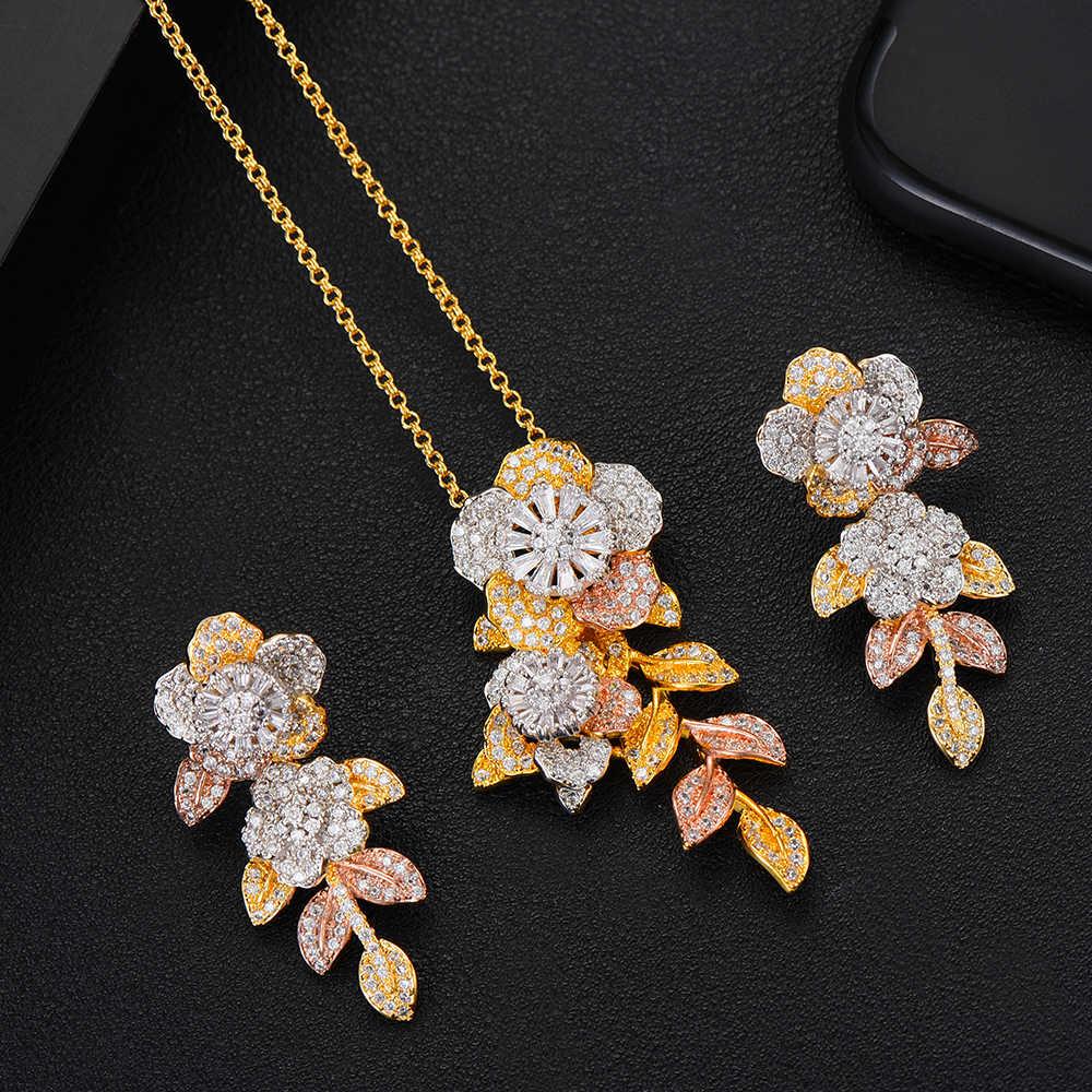 GODKILuxury Exklusive 3 Ton Blume Halskette Ohrring Set Für Frauen Hochzeit Naija Braut Cubic Zirkon Dubai Hohe Schmuck Sets 2019