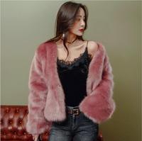High Quality 2018 winter new Faux fox fur Red wine color woman coat Faux Fur Thick Warm Fur Casual fashion female Faux Fur