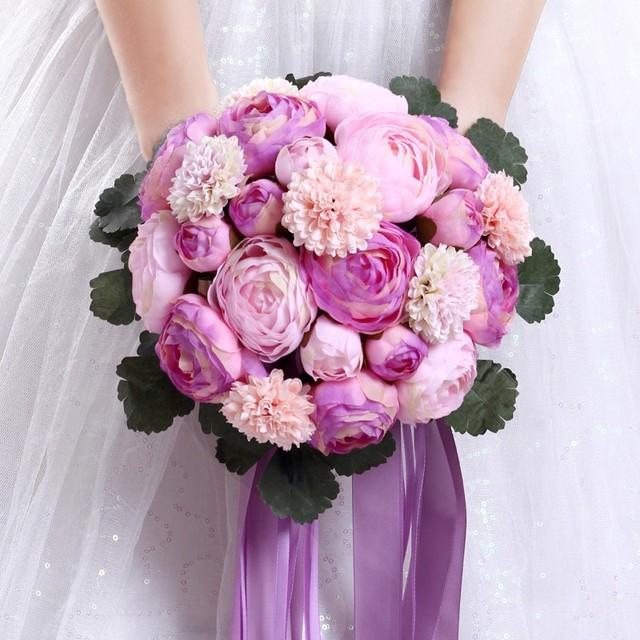 Nuevo 2016 Soborno Boda Celebración Ramo de Peonía Noble Púrpura de la Alta Calidad 14 Grande + 6 Pequeña de Seda y Satén flores