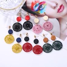 HOCOLE New Korean Wooden Round Drop Earrings For Women Za Hollow Mesh Wood circle Dangel Earring Female Jewelry 2019 Brincos