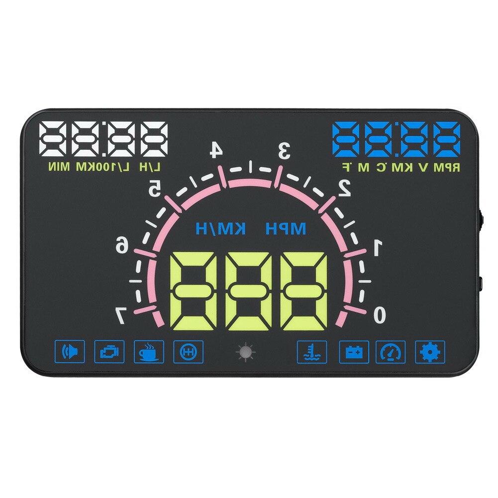 5.8 LCD Voiture HUD Head Up Display Auto Vitesse Projecteur sur le Pare-Brise OBDII Véhicule Alarme De Survitesse De Diagnostic-outil Système