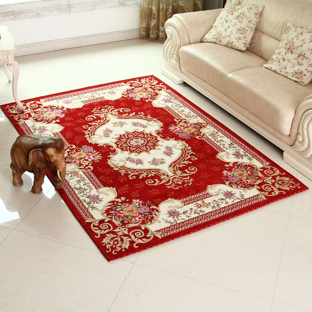 SunnyRain Classical Machine Jacquard Red Carpet Area Rug For Living Room Rugs And Carpets Bedroom