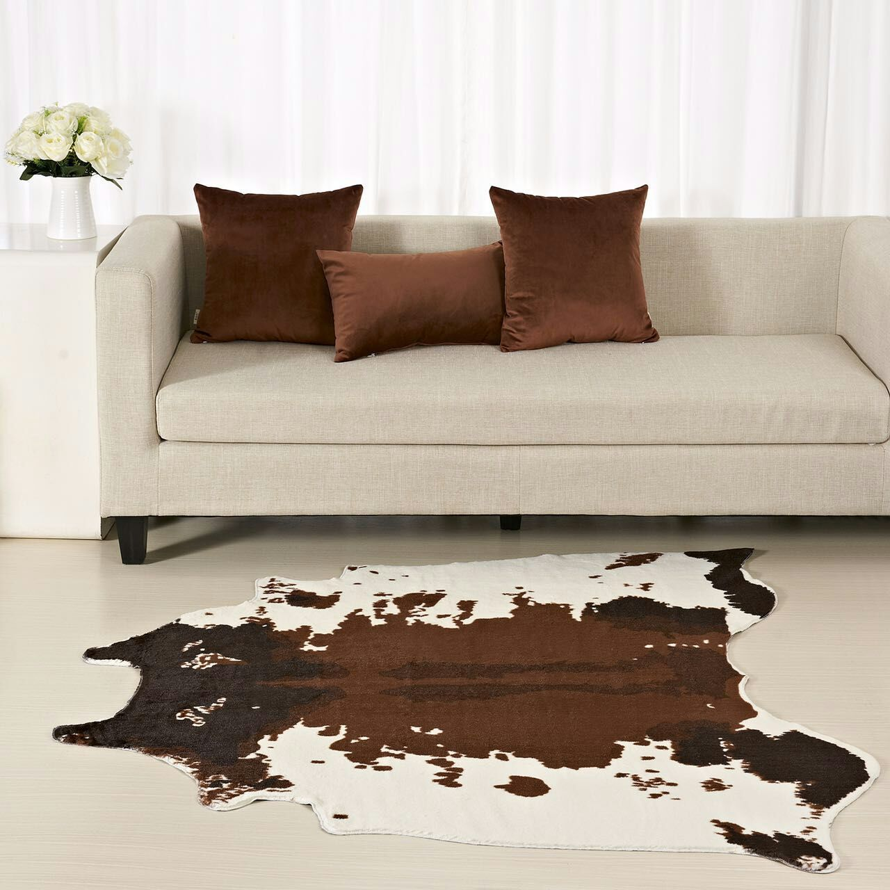Us 39 69 22 Off Brown Cowhide Rug Zebra Carpet Creative 150 130 Cm Home Decoration Faux Skin Mat For Living Room Bedroom Carpets In From