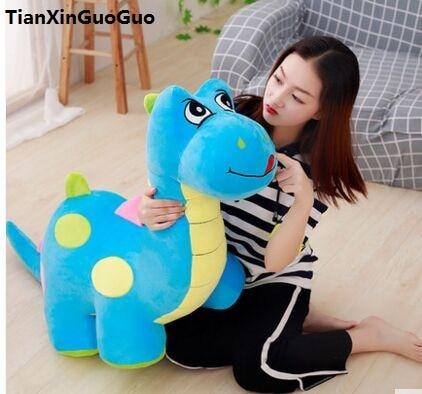 stuffed toy large 100cm blue cartoon dinosaur plush toy Q edition dinosaur soft doll hugging pillow birthday gift s1036 cartoon glasses panda in yellow cloth large 70cm plush toy panda doll soft pillow christmas birthday gift x031