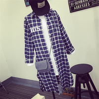 NEW Children Kpop Bts Bangtan Same Unisex Loose Long Sections Plaid Long Sleeve Shirt Split Kpop