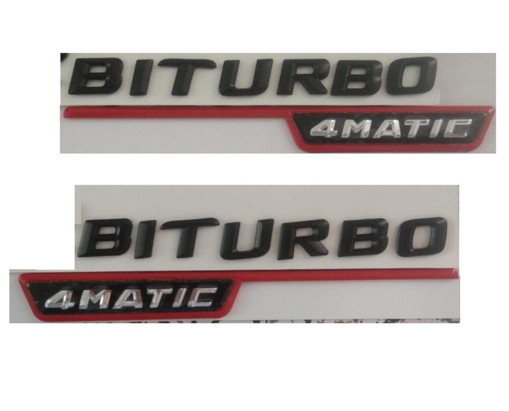 Matt Red V8 BITURBO Letters Side Emblems Badge Sticker for Mercedes Benz