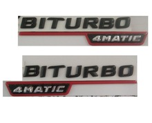 Matte Black Red Silver  BITURBO 4MATIC ABS Plastic Car Trunk Rear Letters Badge Emblem Decal Sticker for Mercedes Benz AMG