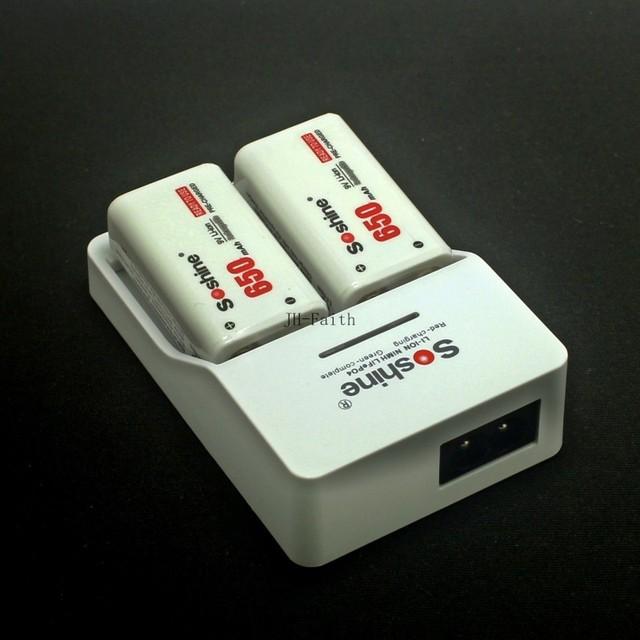 Cargador rápido de Soshine 9 V batería Cargador Rápido + 2 unidades Soshine 650 mah 9 V de polímero de iones de litio batería recargable