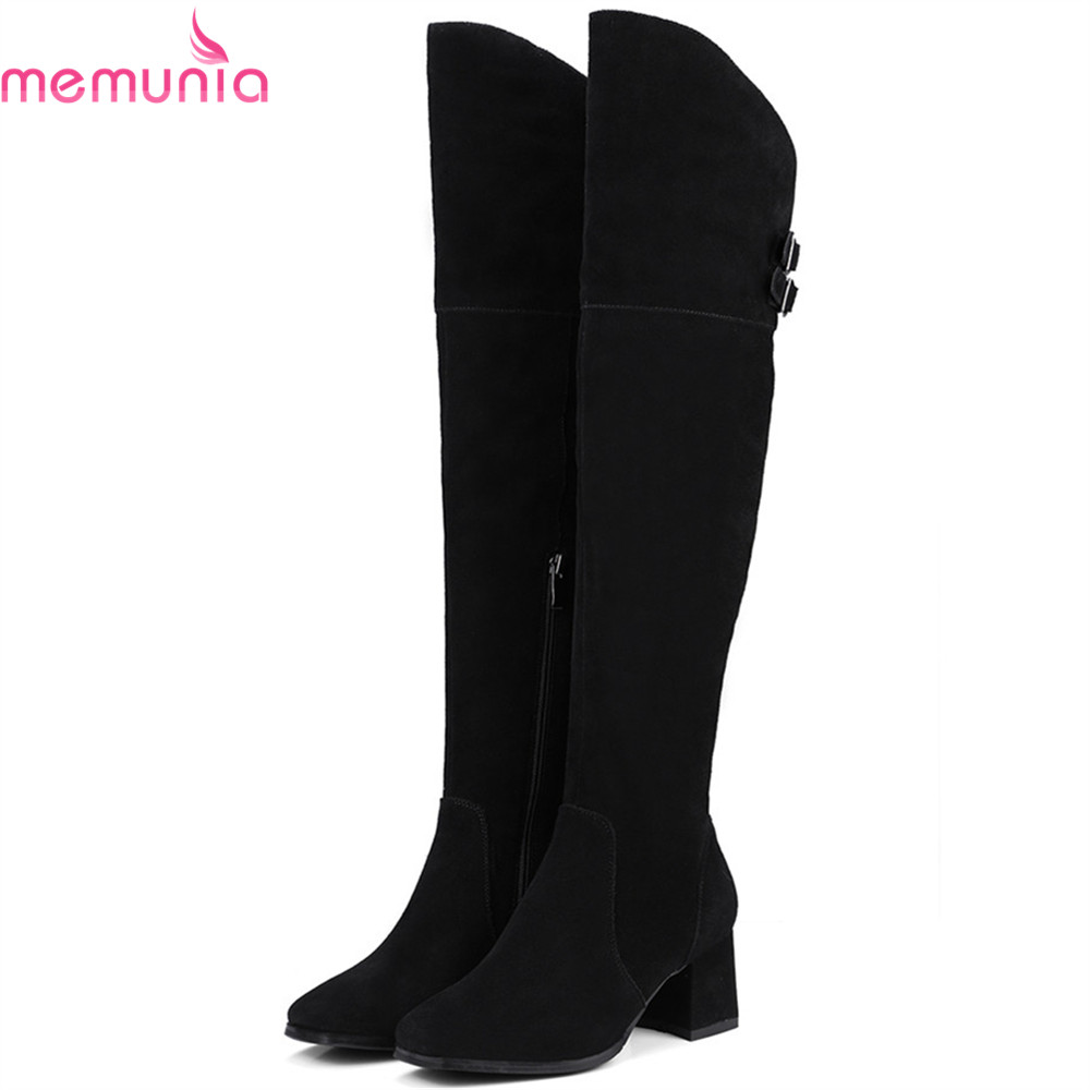 цена MEMUNIA fashion black autumn winter new arrive women boots square toe zipper cow suede ladies boots leather over the knee boots