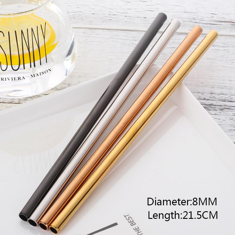 8 unids Metal Extra Largo 8mm Paja de Ancho Pajas de Acero Inoxidable - Cocina, comedor y bar