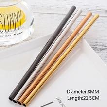 8 stk. Metal ekstra lang 8 mm bred halm rustfrit stål suger genanvendeligt drik halm med børste til yeti tumbler bar tilbehør