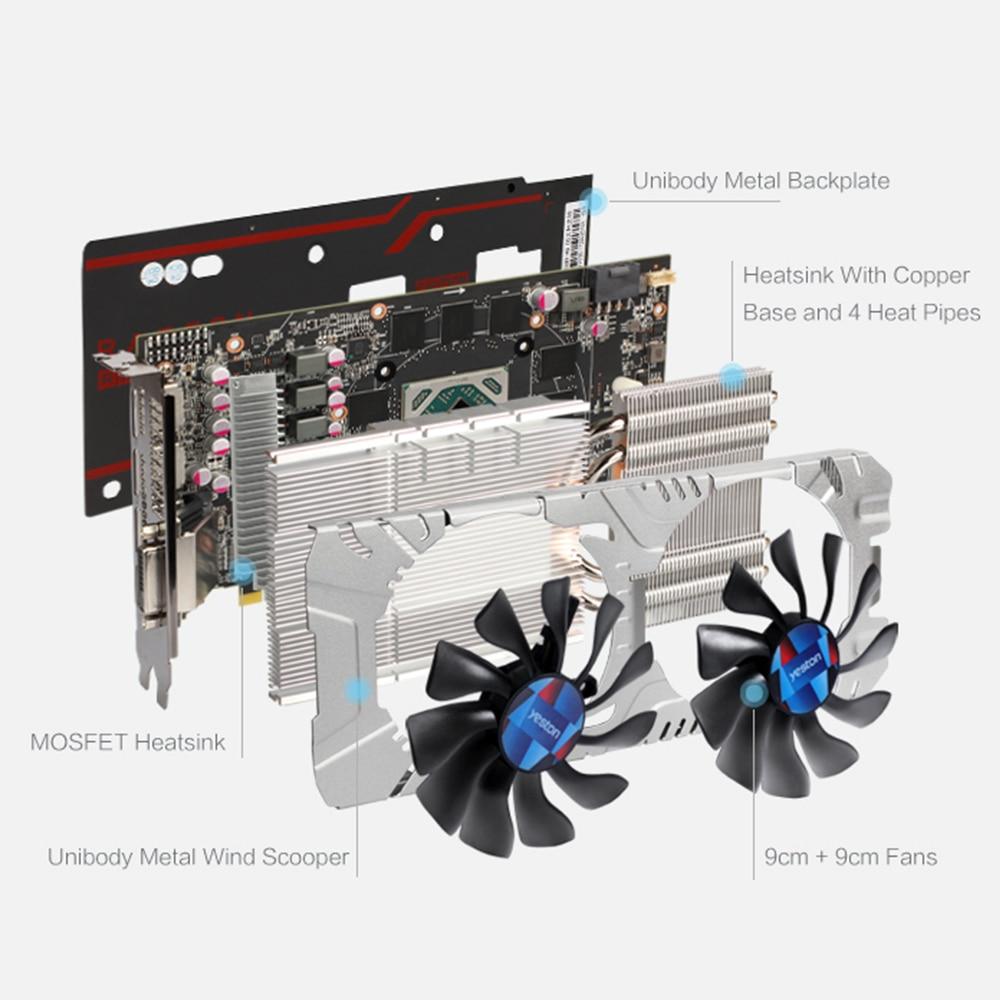 Yeston Radeon RX 580 GPU 4GB GDDR5 256 bit Gaming Desktop computer PC Video Graphics Cards support DVI/HDMI 4