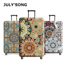 JULY'S SONG Vintage Floral Travel Luggage Cover Dust Case Suitcase Protective Cover Polyester Trolley Case cover hot fashion traveling on the road suitcase case protective case cover trolley bus case trip suitcase dust cover for 18 to 32 inc