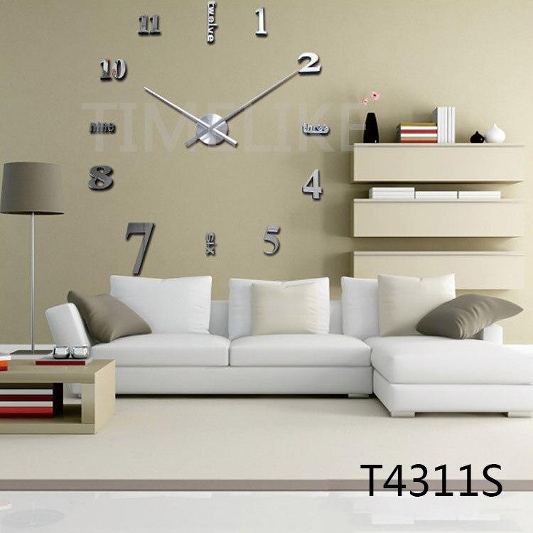 grandes relojes de pared diy d eva pegatina reloj de pared efecto espejo de lujo arte