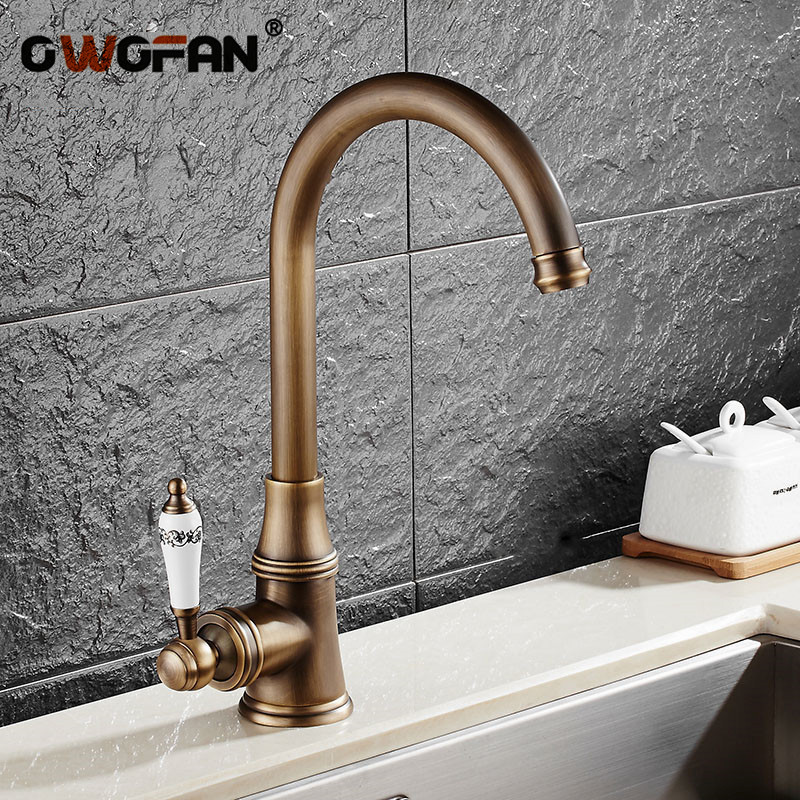 Kitchen Faucets Single Lever Faucet 360 Rotate Deck Mounted Kitchen Faucet Antique Single Holder Single Hole Mixers Taps N22-107