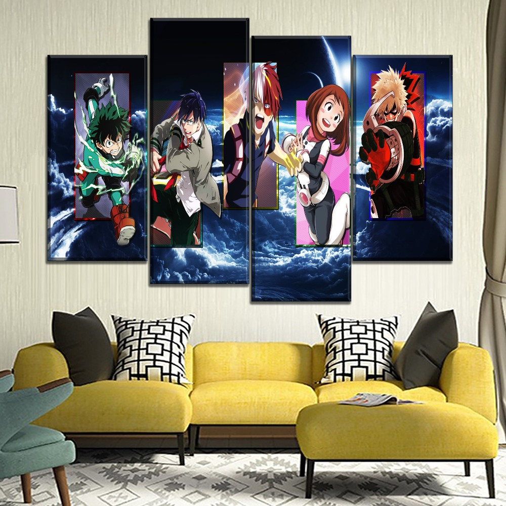 Home Decorative Living Room Wall Modular Painting 4 Piece My Hero Academia Character Anime Poster Modern Canvas HD Printed Type in Painting Calligraphy from Home Garden