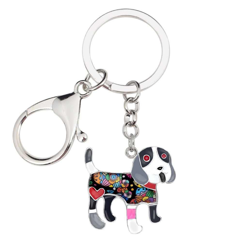 Bonsny металлическая Эмаль Улыбка Бигль собака брелки кольца милые животные ювелирные изделия для женщин девочек сумка автомобиля подвески кошелек кулон