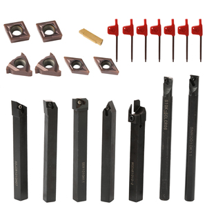 21PCS 10mm Lathe Turning Tool Solid Carbide Inserts Holder Boring Bar With Wrenches For Lathe Turning Tools lathe cutter(China)