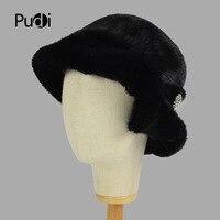 Pudi HF7026 women mink fur hat Fashion warm winter women Genuine Real mink knitted Fur hat Russian fur hat