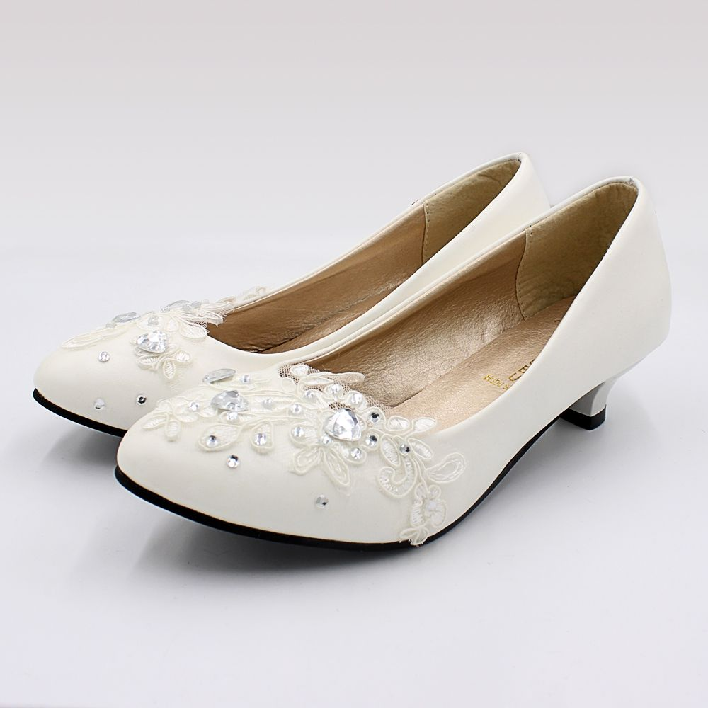 3CM Low Small Heel White Lace Wedding Shoes Bride Handmade