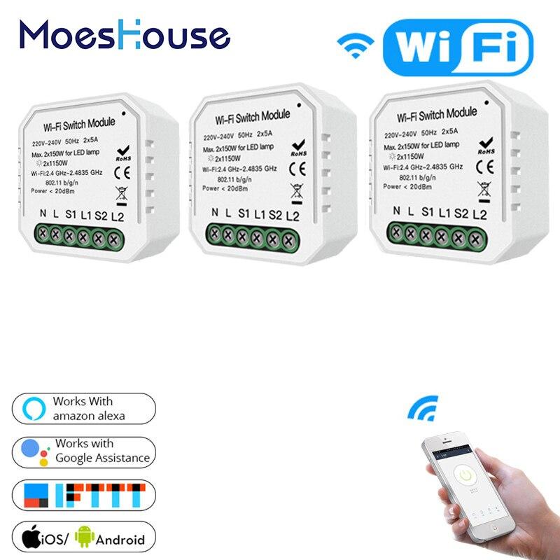 2 Gang 1 voie WiFi intelligent interrupteur de lumière caché bricolage Module vie intelligente/Tuya APP télécommande fonctionne avec Alexa Echo Google accueil