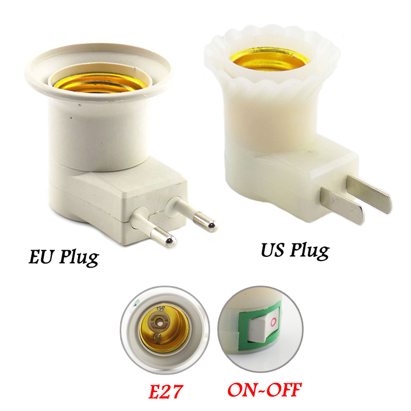 LED Lamp E27 Base Holder Converter EU/US Plug Female Socket For Bulb Light Adapter With ON/OFF Button Switch AC Power 110V-220V