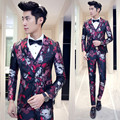 2016 New Arrival Men Printed Club Suits Slim Custom Fit Tuxedo Fashion Business Dress Wedding Suits Blazer (Jackets+Pants+vest)