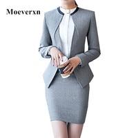 Professional set women skirt suit 2017 autumn temperament fashion Office Lady long sleeve blazer with skirt plus size work wear