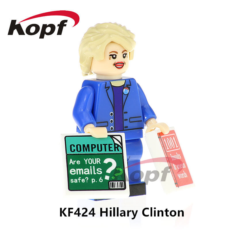 KF423 Custom Figures Donald Trump Hillary Clinton Grunge Icon Mr.Bean Bricks Building Blocks Collection For Children Gift Toys