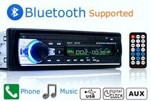 Автомобиль Радио стерео-плеер Bluetooth телефон Aux-в MP3 FM/USB/1 din/пульт дистанционного управления 12 В аудиомагнитолы автомобильные авто 2017, распродажа Новый