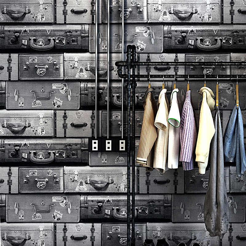 Beibehang behang Persoonlijkheid kofferbak retro retro koffer behang bar mode dames kleding winkel restaurant cafe behang