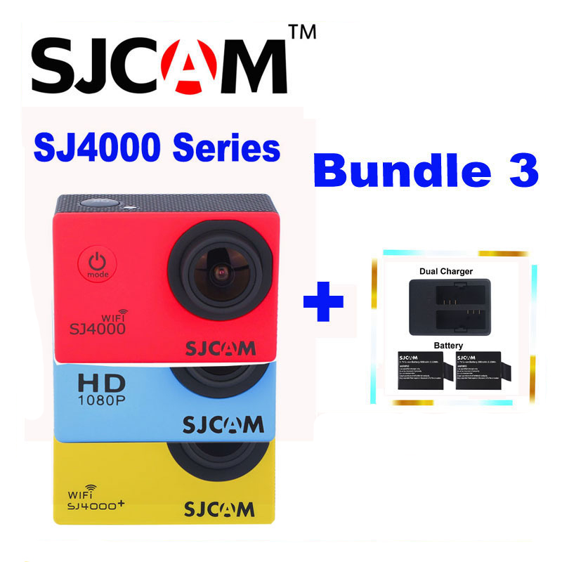 Original SJCAM SJ 4000 & SJ4000 WIFI & SJ4000 Plus WiFi Sports Action Camera 1080P HD DV Sj Cam +2 Batteries+ Dual USB Charger other sjcam wifi sj4000 wifi 1080p hd gopro dv 30 original sjcam wifi version sj4000 wifi 1080p full hd gopro camera