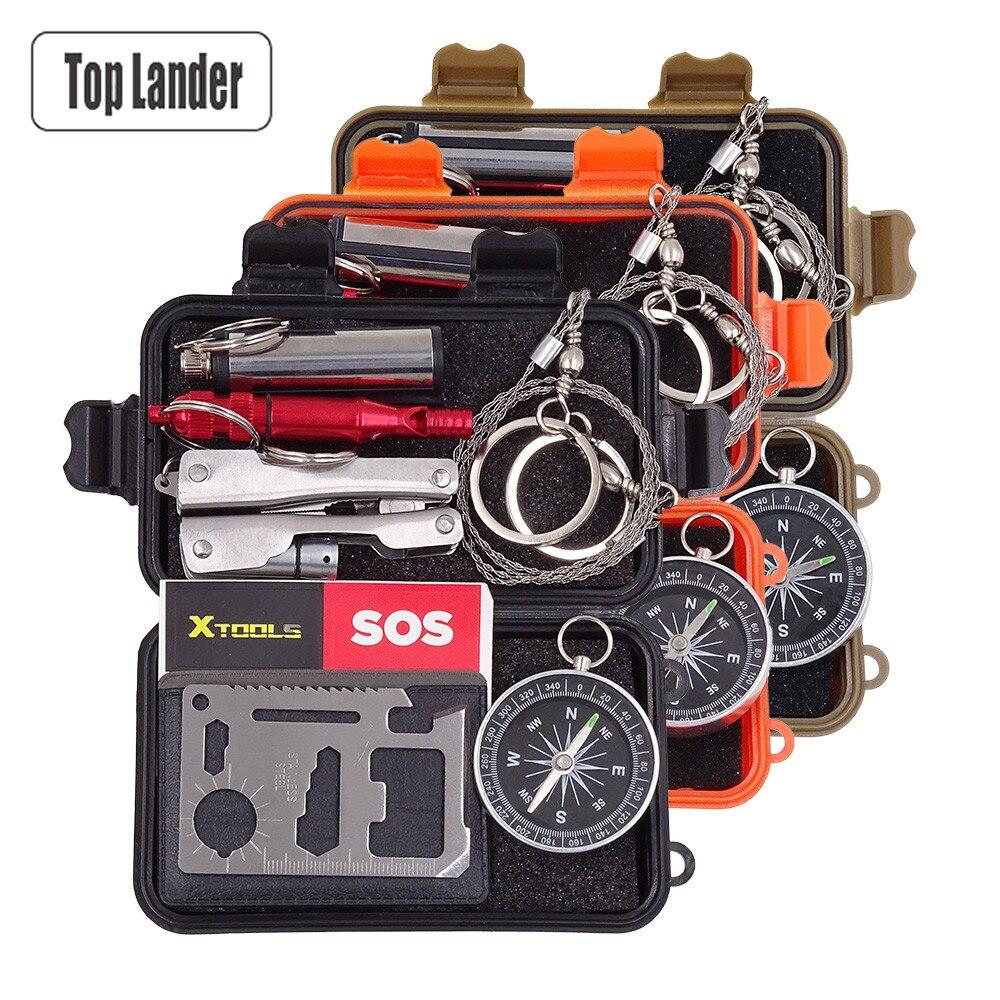 SOS Survival Emergency Gear Self Help Outdoor Camping Travel Hiking Tool Box Kit