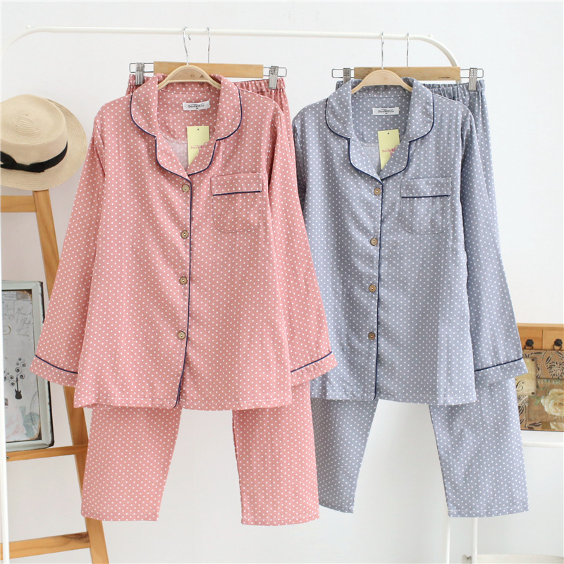 HTB1rW0kX5HrK1Rjy0Flq6AsaFXaf - Korea Fresh maple leaf pajama sets women 100% gauze cotton long sleeve casual sleepwear women pyjamas summer hot sale