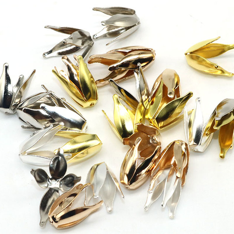New DIY Flower Bead Caps Metal Petal Bead Caps Jewelry Findings And Components Silver Plated Tone 10mm Hole is 1.5mm 100PCs