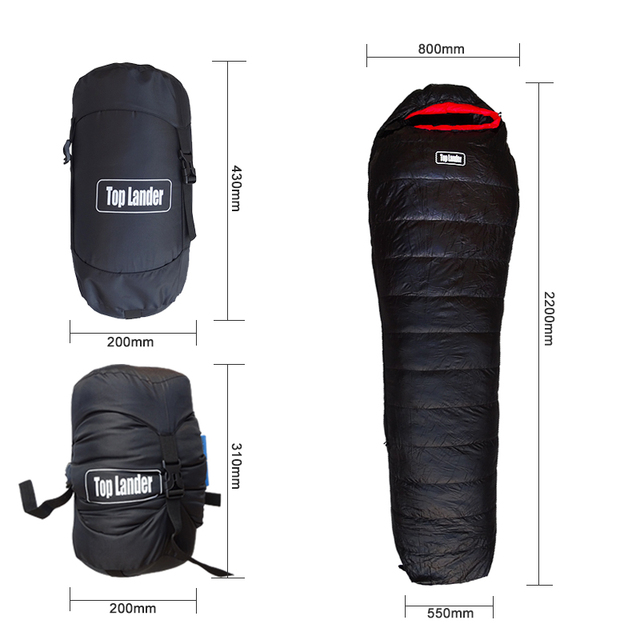 Goose Down Sleeping Bag for Cold Winter Compressible Ultralight Waterproof Mummy Sleeping Bag for Camping Hiking Backpacking