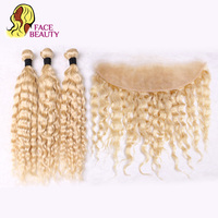Facebeauty 613 Blonde Weft Product 3 Bundle Remy Malaysian Curly Hair with Closure Piece 13x4 Lace Frontal Preplucked Human Hair