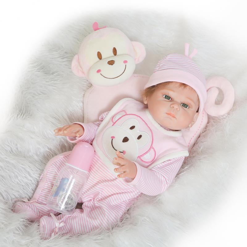 Nicery 20inch 50cm Bebe Reborn Doll Hard Silicone Boy Girl Toy Reborn Baby Doll Gift for Children Pink Monkey Lovely Baby DollNicery 20inch 50cm Bebe Reborn Doll Hard Silicone Boy Girl Toy Reborn Baby Doll Gift for Children Pink Monkey Lovely Baby Doll