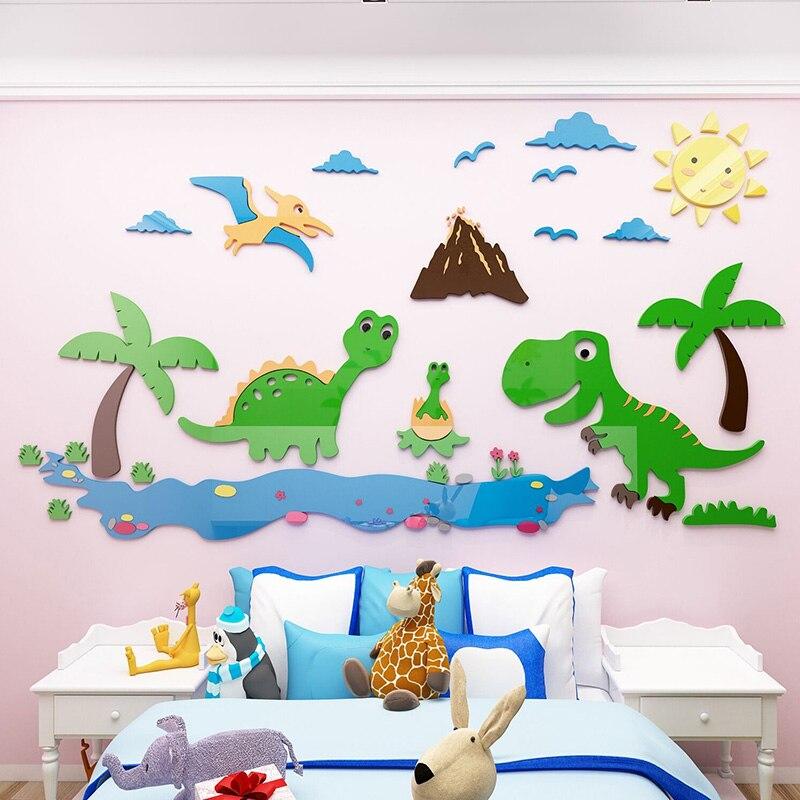 Мультфильм Динозавр мир акриловые наклейки s DIY Наклейка пазл для детского сада детская комната настенные украшения подарок на день рождени