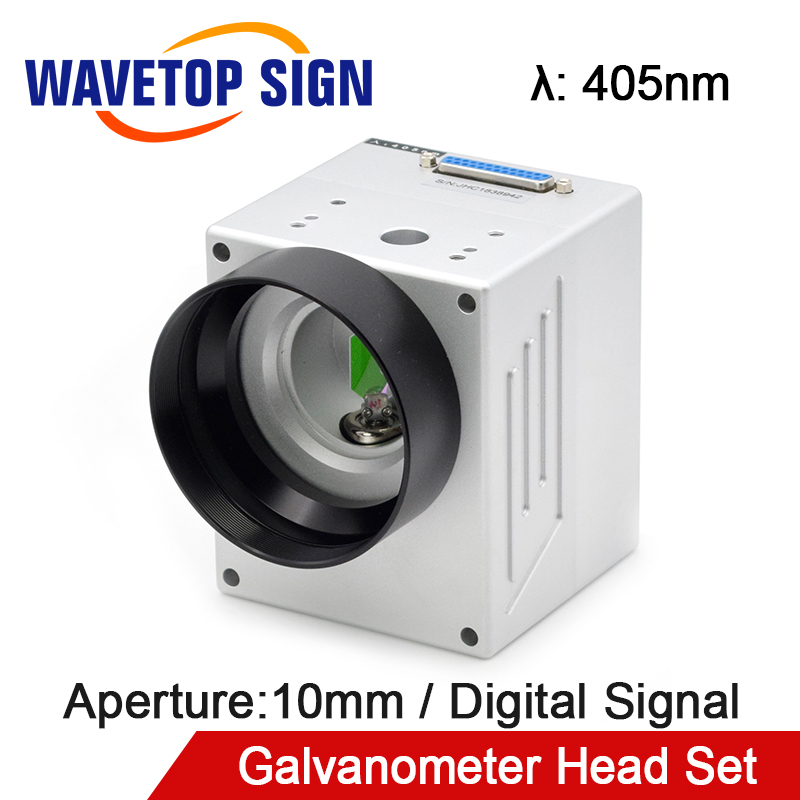 WaveTopSign 405nm Input Aperture10mm High Speed Digital Signal Laser Scan Galvanometer Head Set with Power Supply